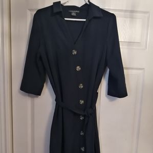 Navy blue shirt dress with tie up sash